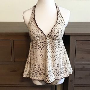 Other - NWOT Brown Cream Lace Babydoll Halter Swimsuit